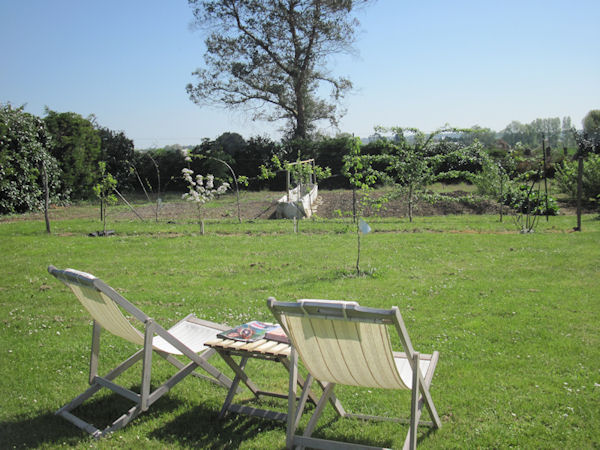 A relaxing spot overlooking our potager