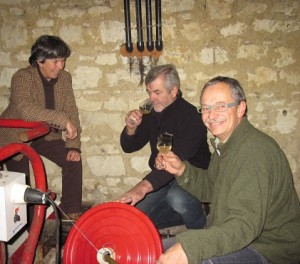 Simon Grainger Pierre & Bridget wine tasting from the vats