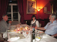 Simon & wine tour guests - wine tasting dinner at manoir de Gourin